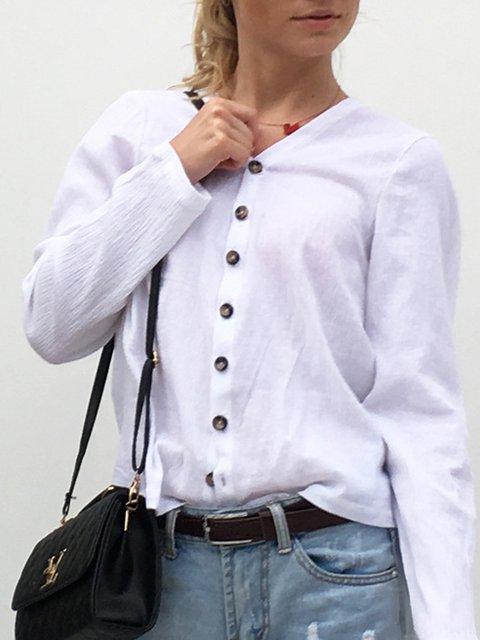 White Long Sleeve Cotton-blend Solid V-Neck Blouse