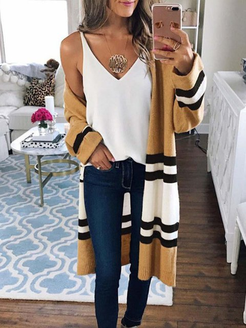 Paneled Casual Long Sleeve Acrylic Knitted Cardigan