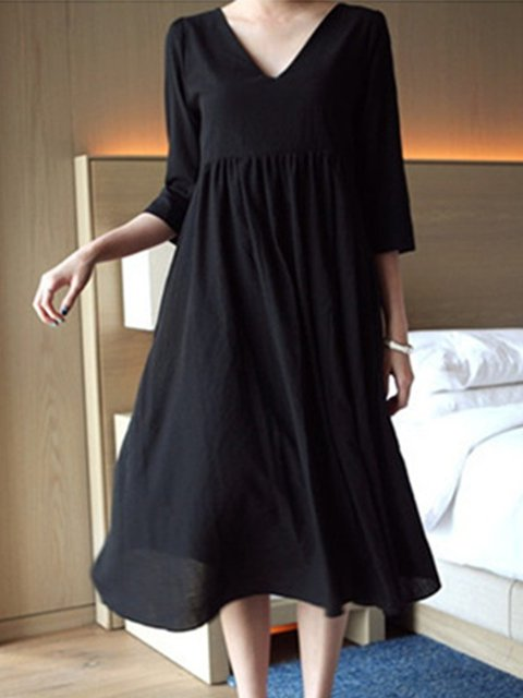 Daily Cotton Solid Dress 3 Paneled Neck V Sleeve Women Casual 4 Casual BqxZ6E1wF
