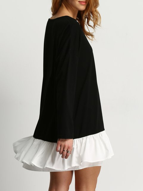 Long Paneled Black Dress Casual A Casual Women Sleeve line Daily Chiffon wT4nqxY8T