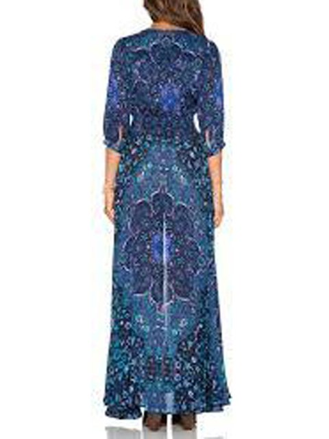 Swing Sleeve Neck Women 4 Fall V Dress Chiffon Printed 3 Tribal Holiday Navy Blue nAgRfxB1