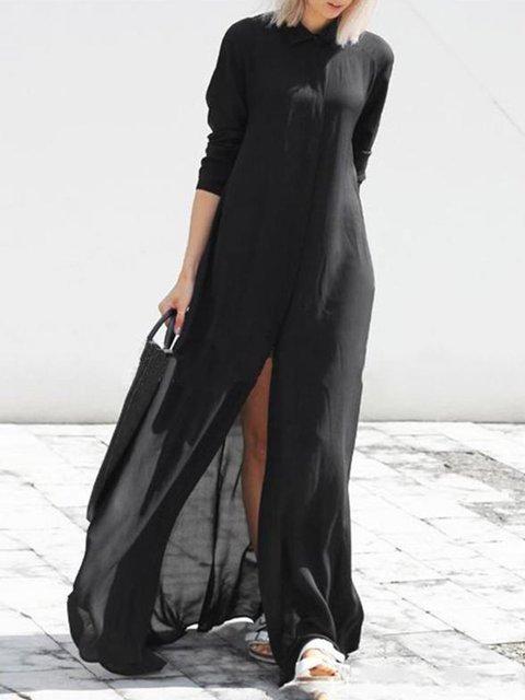 Women Slit Holiday Sleeve Black Beach Swing Dress Fall Long Chiffon AqW1w5WU