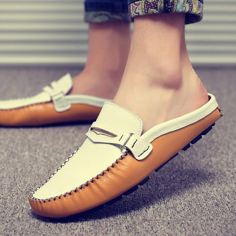 5103dab64d7 Men British Style Color Blocking Flat Slip On Casual Backless Loafers