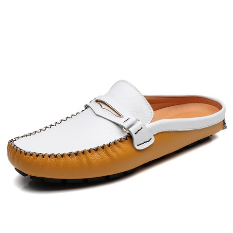 f4e43d79611 Men British Style Color Blocking Flat Slip On Casual Backless Loafers -  JustFashionNow.com