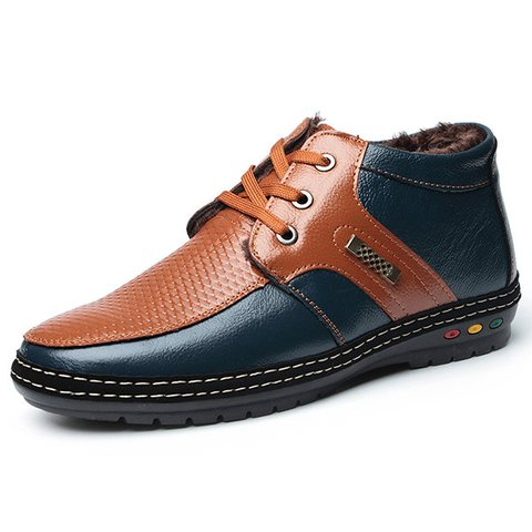 Men Color Blocking Leather Plush Lining Lace Up Casual Shoes