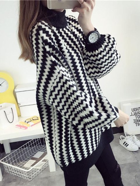 203f0ddeca5 ... Turtle Winter Striped Knitted Casual Sweater Neck Black Cotton B1q6p1w  ...