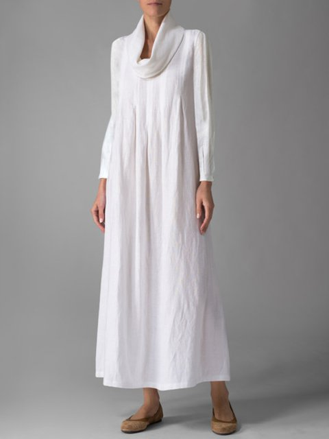 Turtle Neck White Women Simple  Basic Long Sleeve  Solid Casual Dress