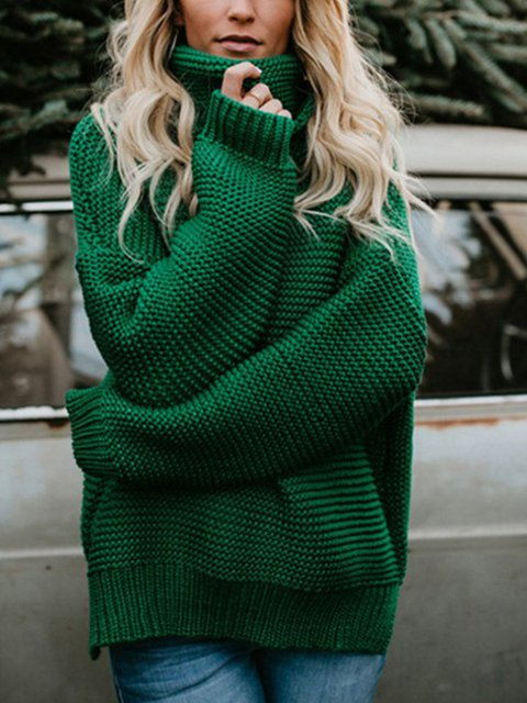 Acrylic Knitted Solid Winter Turtle Neck Sweater