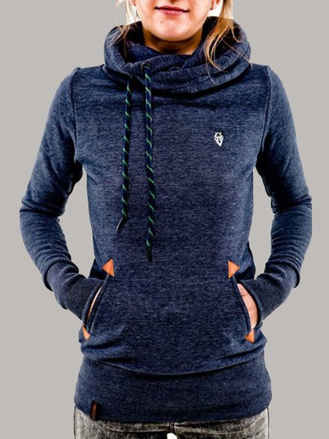 Pockets Casual Long Sleeve Plus Size Hoodie