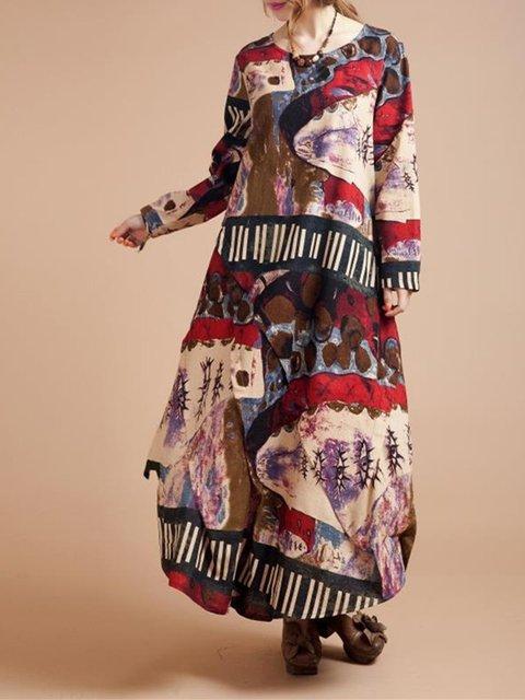 Shift Women Long Sleeve Cotton Paneled Abstract Casual Dress