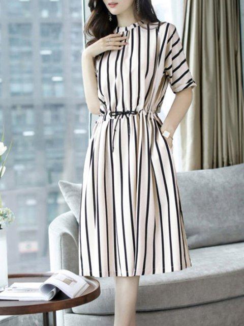 Stand Collar  Women Daily Cotton Half Sleeve Gathered Striped Elegant Dress
