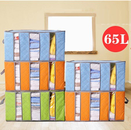 65L Bamboo Portable Clothes Quilts Storage Bags Folding Transparent Organizer