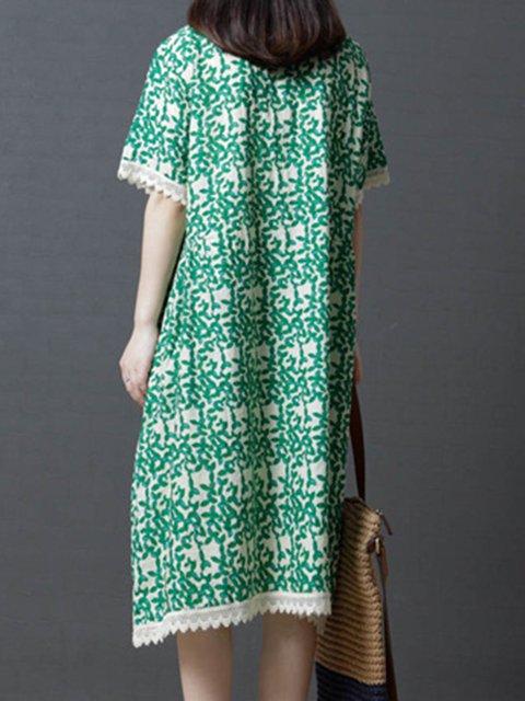 Floral Daytime Cotton Dress Women Shift Sleeve Short Casual qSzx5Xw