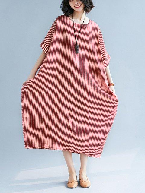 Crew Neck Striped Casual Pockets Midi Loose Dress