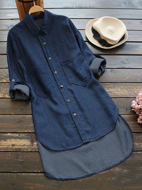 Shift Shirt Collar Cotton Casual Pockets Blouse