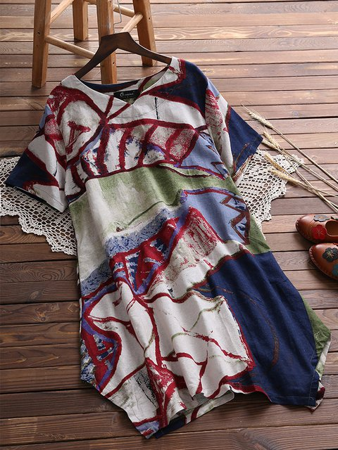 Plus Size Crew Neck Dress Daily Short Sleeve Printed Abstract Dress