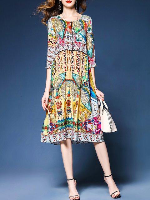 Multicolor Shift Women Date Elegant 3/4 Sleeve Abstract Elegant Dress