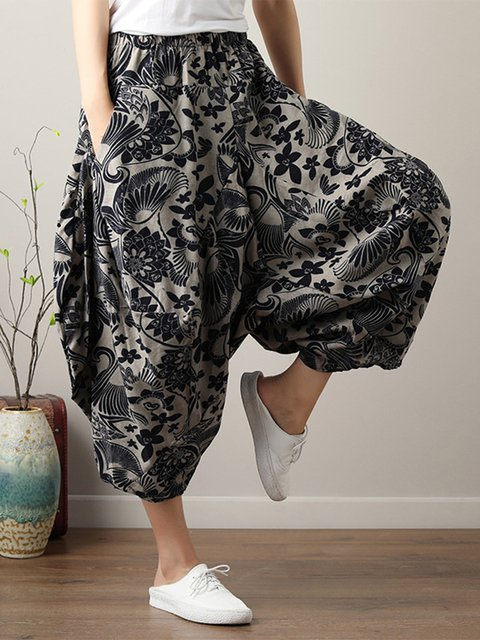 Cotton Casual Tribal Printed Pockets Linen Pants