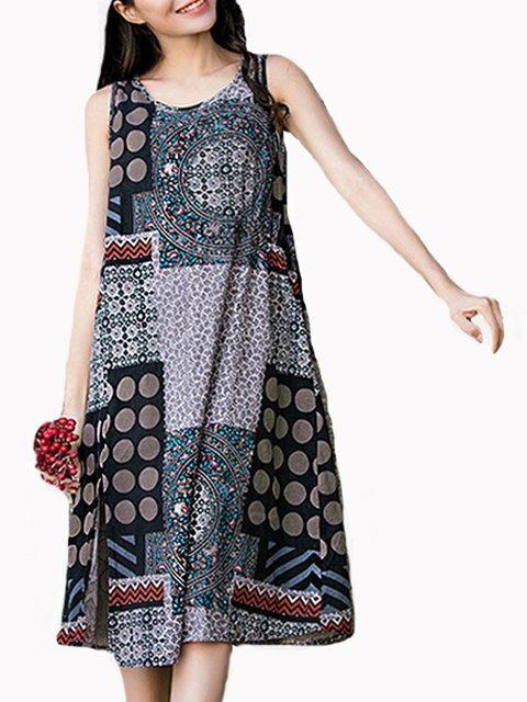 Shift Women Daytime Cotton Sleeveless Casual Slit Tribal Casual Dress