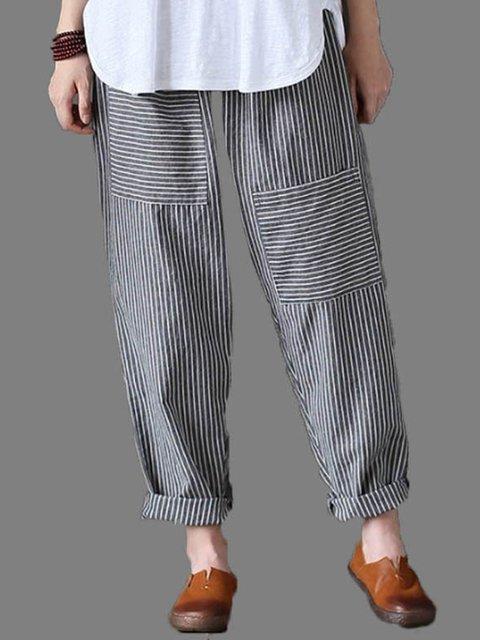 Black Casual Striped Patch Linen Plus Size Pants