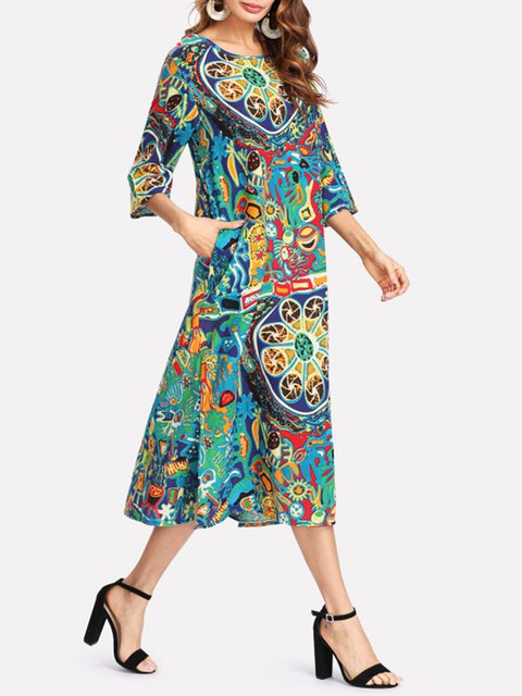 Tribal 4 3 Daily Floral Dress Shift Linen Women Casual Sleeve Slit wf8PRX