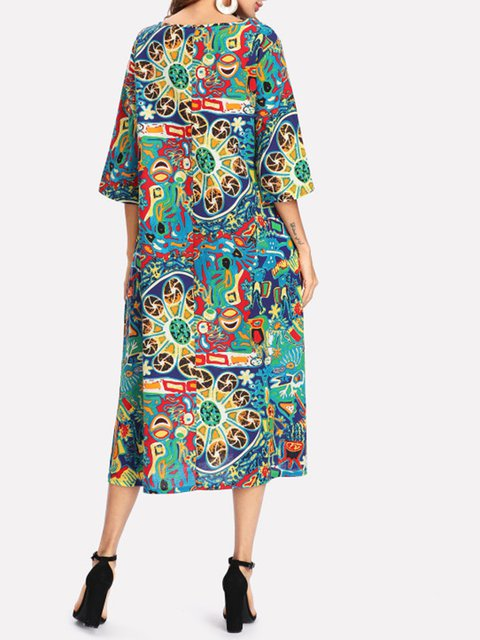 Tribal 4 3 Daily Floral Dress Shift Linen Women Casual Sleeve Slit wf8PRX