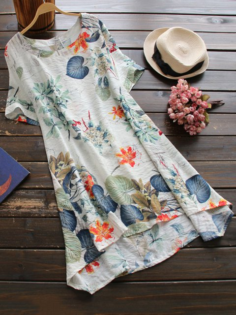 Beige High Low Women Daily Short Sleeve Printed Floral Casual Dress