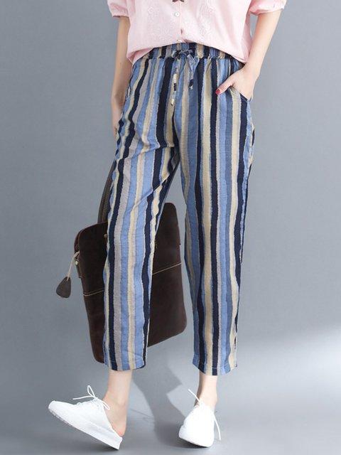 Blue Pockets Striped Casual Linen Cotton Pants