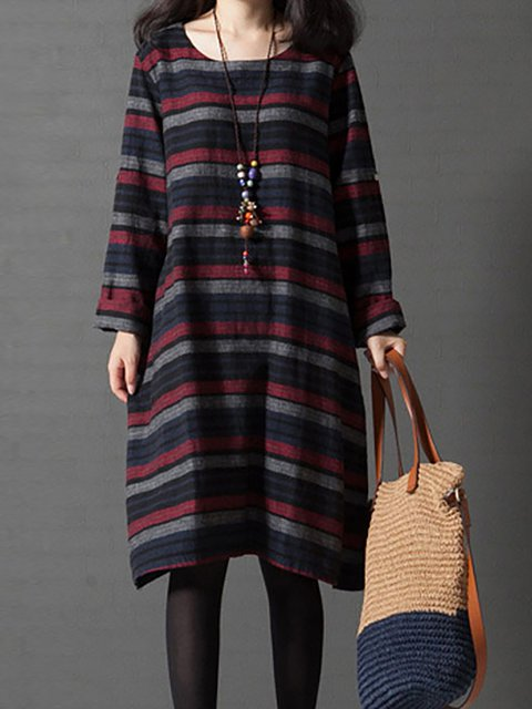 A-line Women Long Sleeve Cotton Paneled Striped Casual Dress