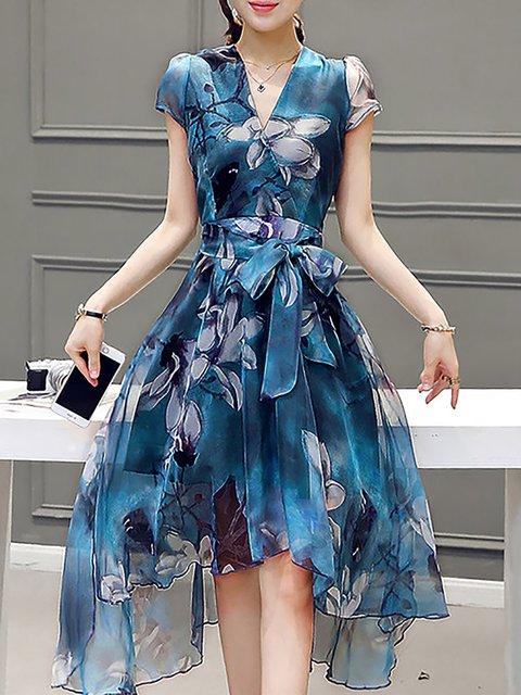V Neck Blue Women Elegant Dresses A-Line Floral Dresses