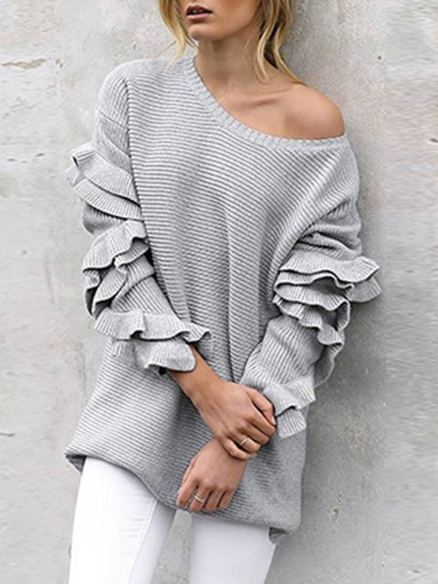 Solid Shift Casual Off Shoulder Knitted Sweater