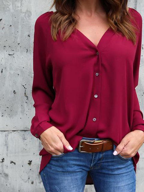 V neck Solid Casual Plus Size Long Sleeve Shirt