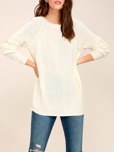 Casual Solid Acrylic Backless Crew Neck Sweater