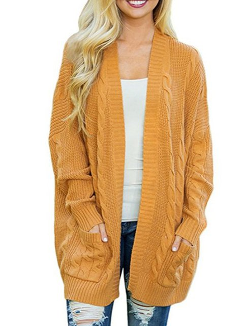 Casual Batwing Solid Knitted  Plus Size Cardigan