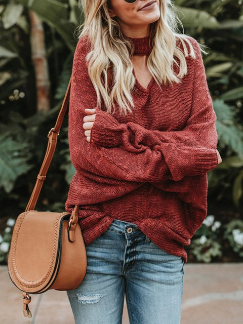 Casual Long Sleeve Choker Neck Knitted Plus Size Sweater
