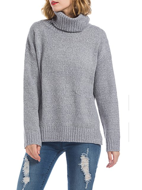 975bf5f01a4 ... Solid Turtle Sweater Casual Neck Slit Acrylic Winter rwA6RIrq ...