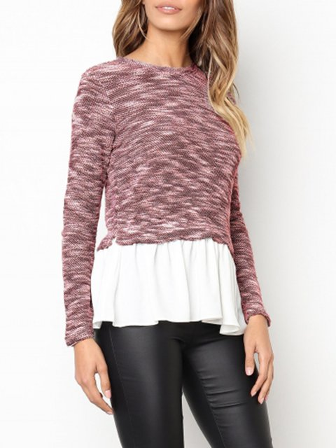 Solid Knitted Casual Crew Neck Plus Size Sweater