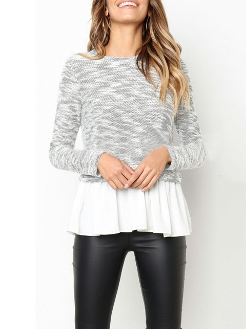 Solid Casual Neck Plus Sweater Crew Size Knitted ZZfqrw1