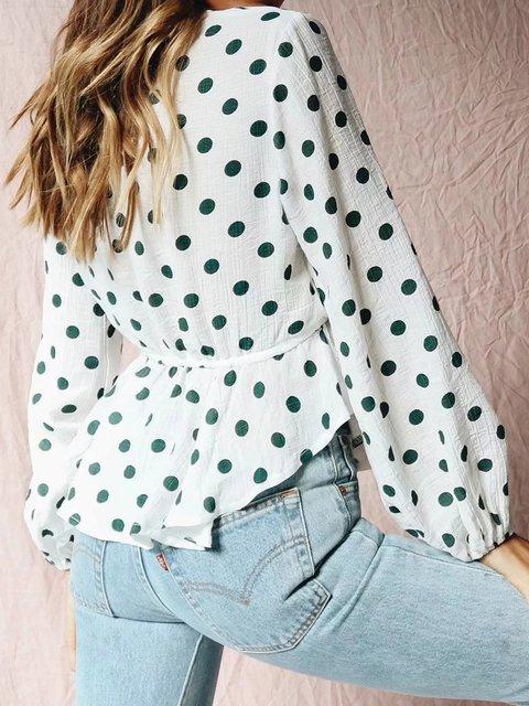 76c116d24dbee White Cotton V neck Polka Dots Blouse - JustFashionNow.com