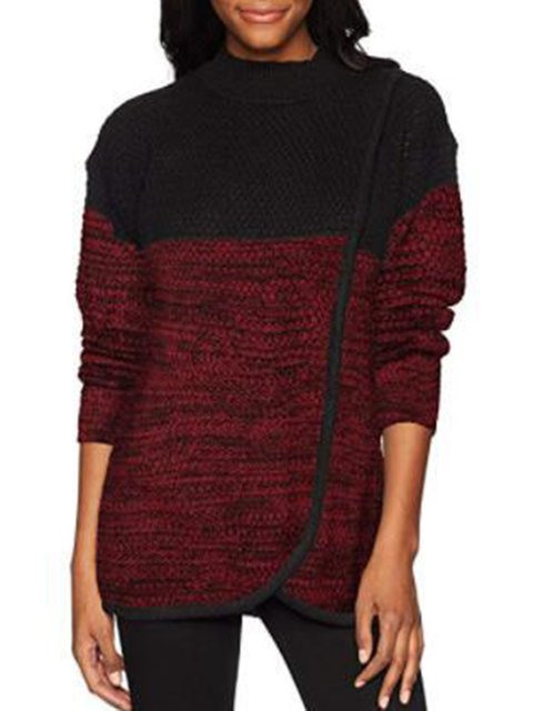 Solid Casual Acrylic Color-block Turtle Neck Sweater