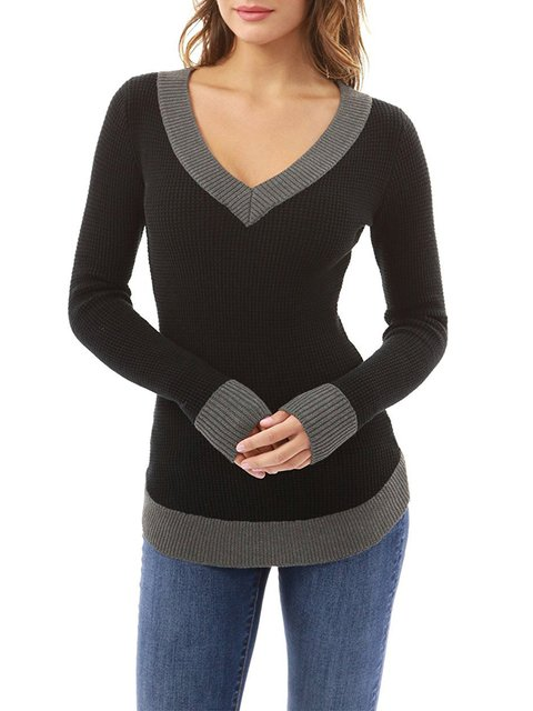 Casual Acrylic Color-block V neck Knitted Solid T-Shirt