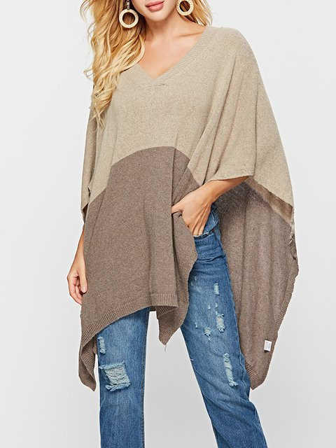 Camel Casual Acrylic Solid Batwing Slit Ponch