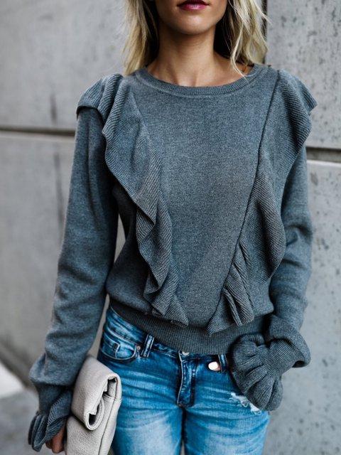 Casual Long Sleeve Acrylic Ruffled Solid Sweatshirt