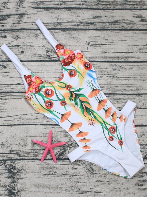White Padded Cut-outs Floral One-piece