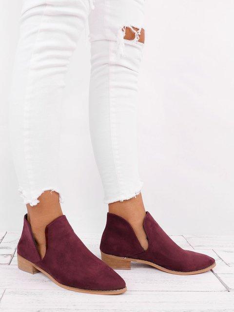 Women Suede Slip On Booties All Season Chunky Heel Casual Shoes