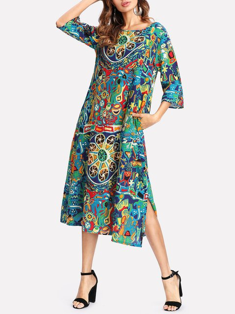 Shift Women Daily Casual Linen 3/4 Sleeve Slit Tribal Floral Dress