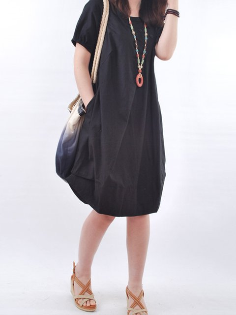 Sleeve Pockets Short Linen Women Cocoon Solid Dress Casual Casual UgxFPUqw