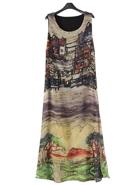 Multicolor A-line Women Sleeveless Slit Abstract Casual Dress