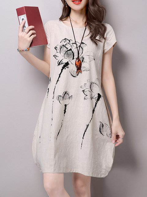 Cocoon Women Daily Cotton Short Sleeve Printed Floral Casual Dress