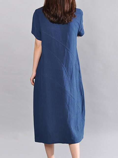 Women Short Cotton Sleeve Dress Casual Solid Cocoon zd8qq